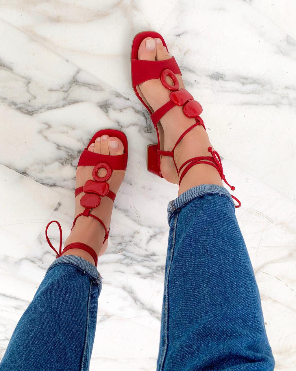 Sandália Pedras Vermelho