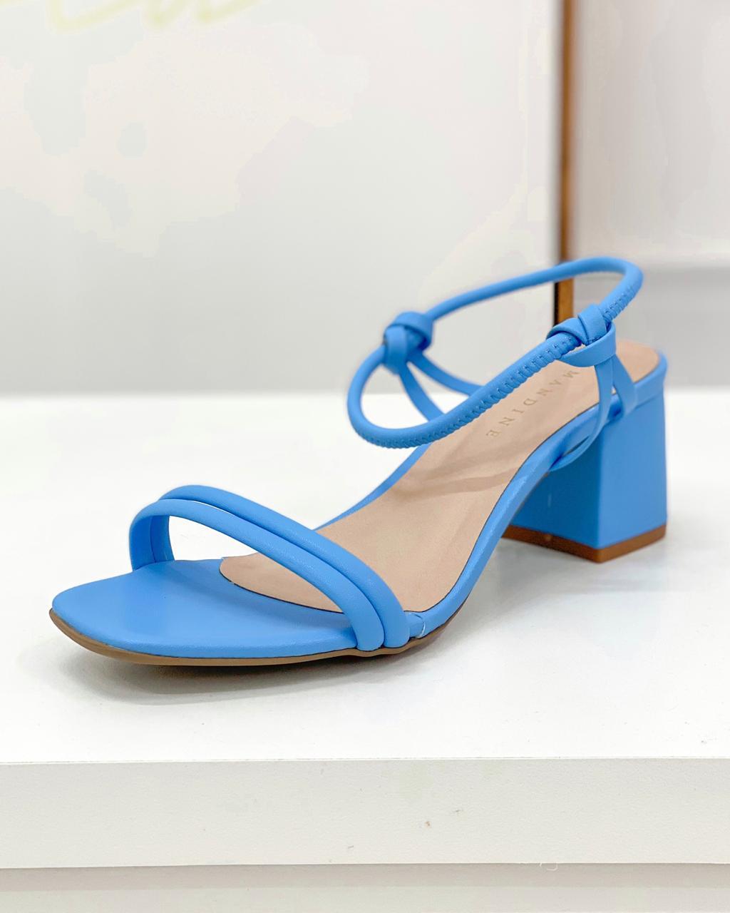 Sandália Salto Bloco Azul