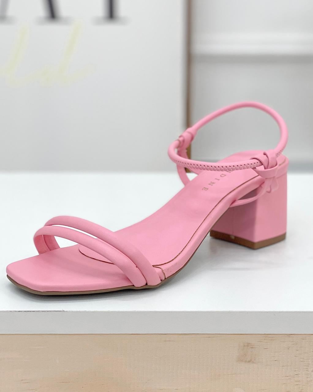 Sandália Salto Bloco Rosa