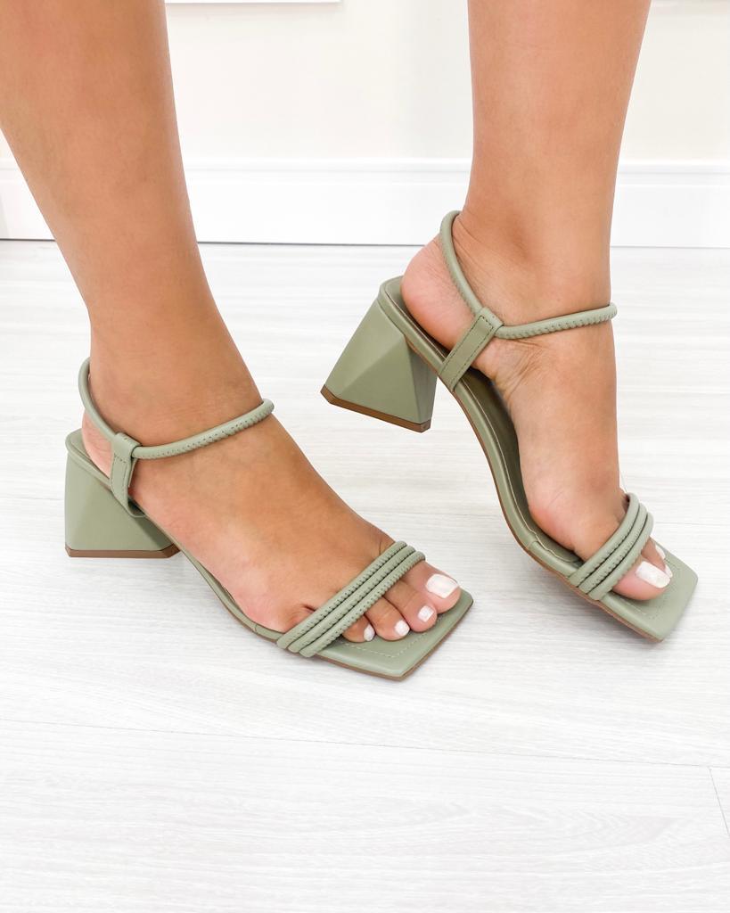 Sandália Trend Salto Triangular Menta