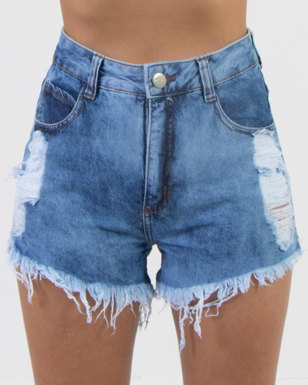 Short Jeans Hot Pants Marmorizado