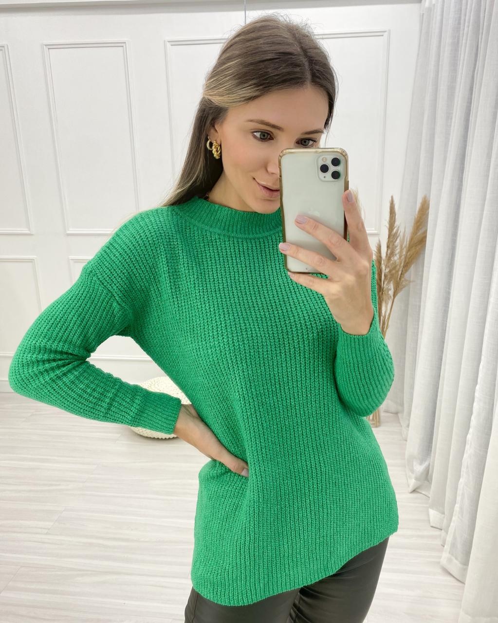 Tricô Maxi Pull Mousse Verde