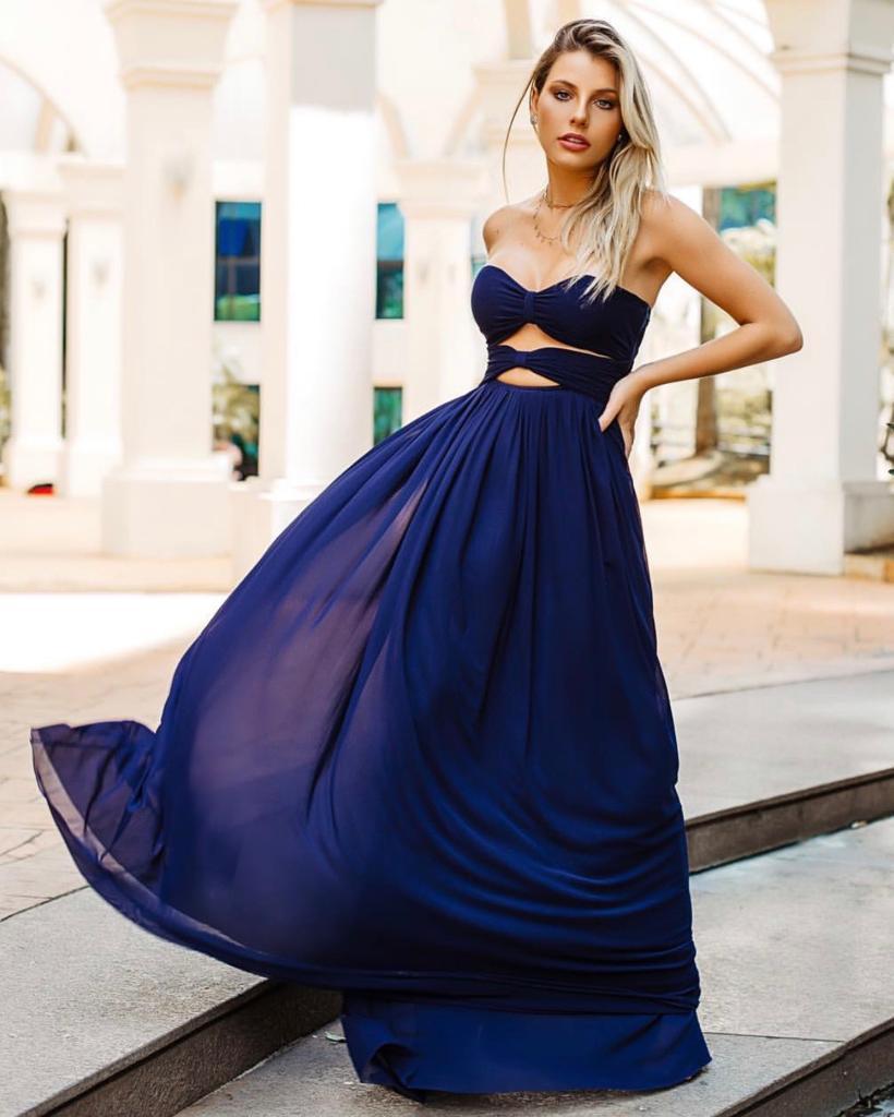 Vestido Longo Festa Azul Marinho