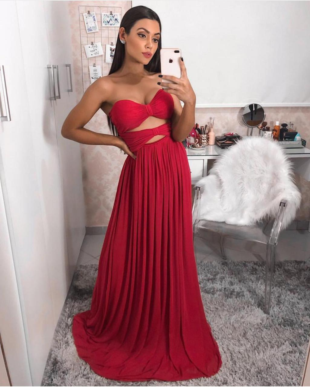 Vestido Longo Festa Vermelho