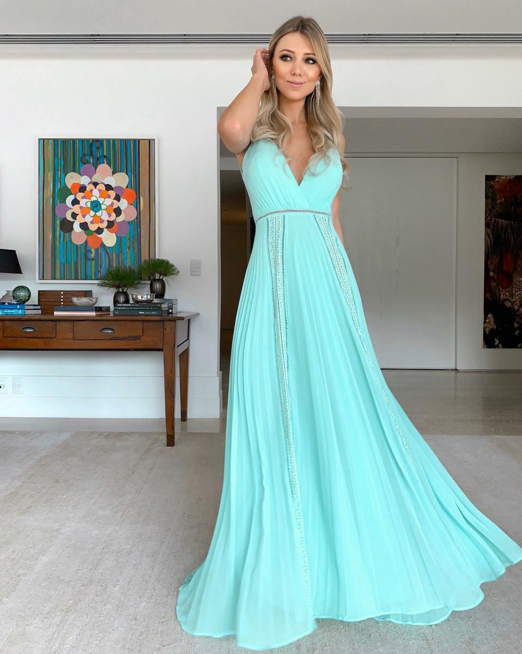 Vestido Longo Plissado Tiffany