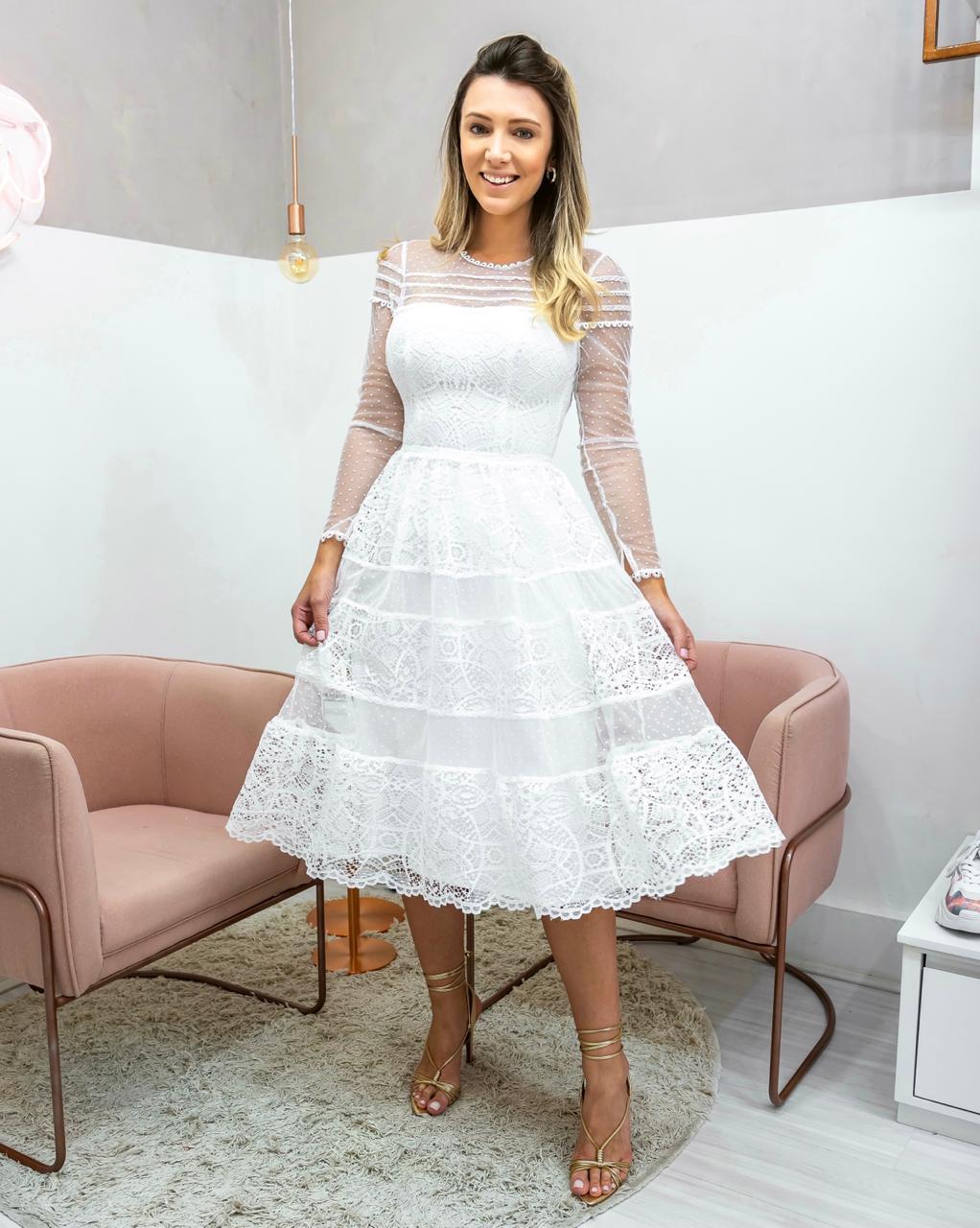 Vestido Midi Branco Noiva