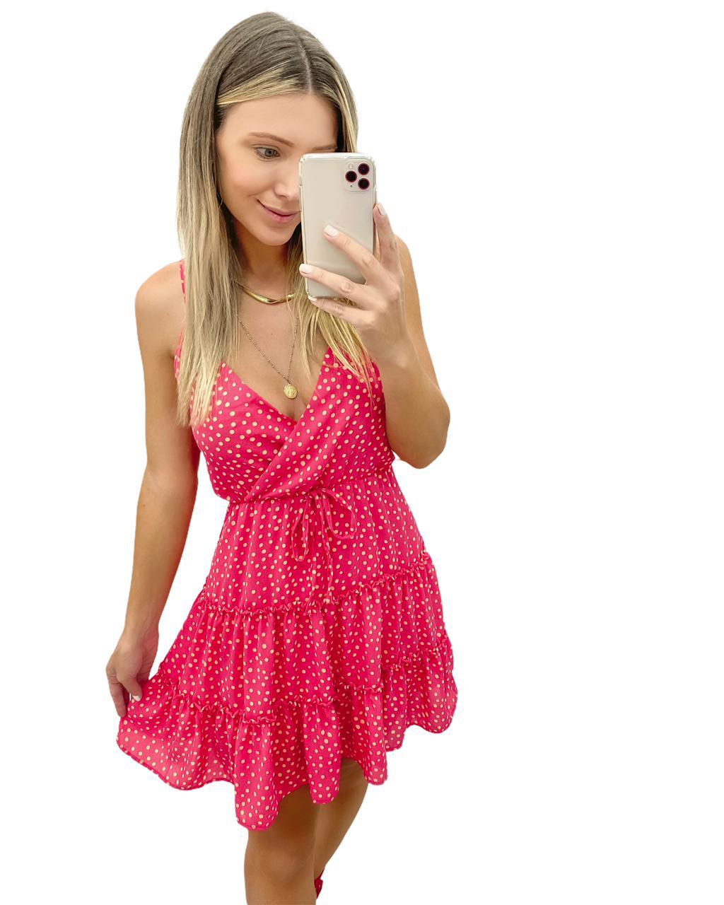 Vestido Poá Cereja