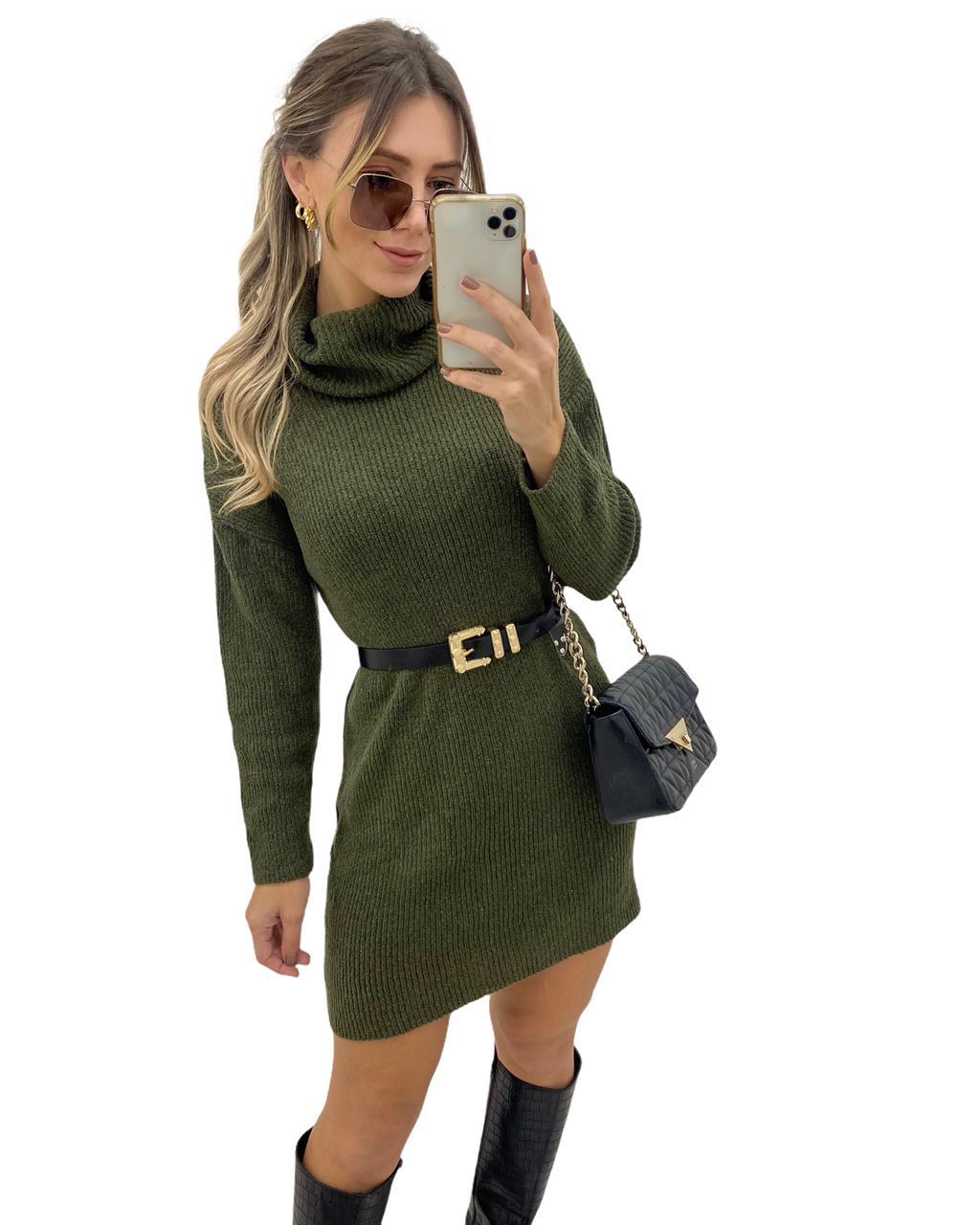 Vestido Tricô Mousse Golão Verde Militar