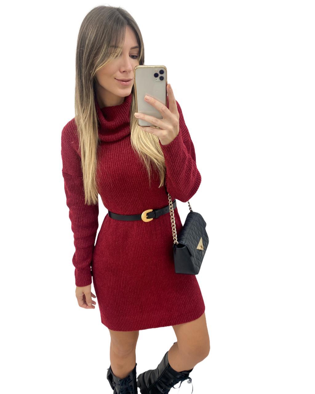 Vestido Tricô Mousse Golão Vermelho