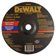 """Disco Abrasivo Desbaste Inox 9"""" x 1/4"""" x 7/8"""" DW44613 DeWALT"""