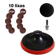 Disco de borracha com velcro + 10 lixas e 1 Adaptador (haste) p/ furadeiras.