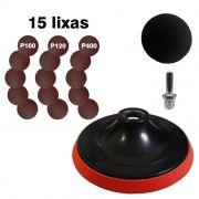 Disco de borracha com velcro + 15 lixas e 1 Adaptador (haste) p/ furadeiras.