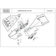Empunhadura Lateral Direita P/ Aspirador AV700 Black+Decker AV700SP03