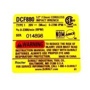 Etiqueta Especifica P/ Chave de Impacto DCF880 N174882