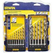 Jogo de Brocas Aço 1,5 a 10mm  C/15 Peças Metal Irwin 1865314