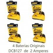 KIT 4 pçs Bateria 12V Li-Ion DeWALT DCB127 2Ah DeWALT N365396