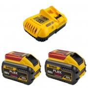 Kit 2 Baterias Íons + 1 Carregador Rápido 20v/60v 9ah Flexvolt Dewalt