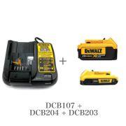 KIT Carregador DCB107 + Baterias DCB204 + DCB203 Dewalt