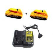 Kit Carregador DCB107 Bivolt + 2 Baterias DCB203 20v 2 amperes Dewalt Litio