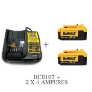 Kit Carregador DCB107 Bivolt + 2 BateriaS DCB204 20v 4 Ah Dewalt Litio