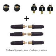 KIT CONECTOR DE SOLDA E SOM, ILUMINAÇÃO 9mm Carbografite p/ Cabo até 25mm