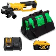 Kit Esmerilhadeira DCG412B + Bateria DCB204 4Ah + Carregador DCB115 + Bolsa Porta-ferramentas CG 460