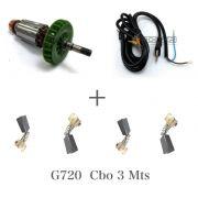 Kit Rotor 120v + Escovas e Cabo eletr. p/ G720 Esmerilhadeira Black e Decker