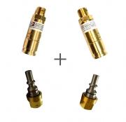 KIT Válvulas de Segurança de Engate Rápido Corta Chamas p/ Oxigênio e Gás.