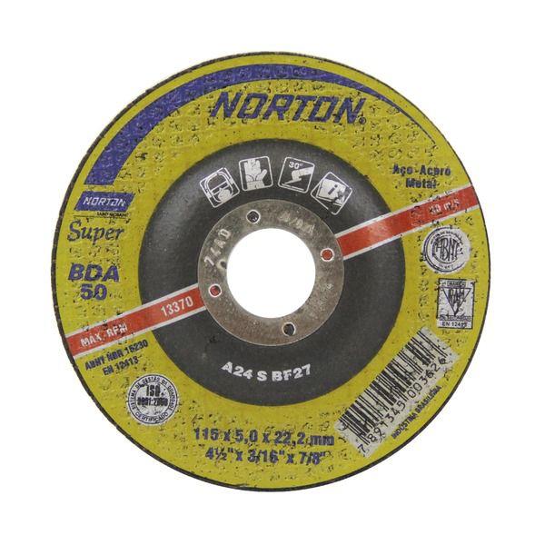 30 Discos de Desbaste 115 X 5 X 22,22 4.1/2 Norton BDA50 66252843686