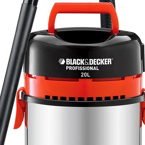 Aspirador de Pó e Líquidos, Elétrico, Tanque Inox 20L, 1400W, Filtro Hepa 220V Black+Decker
