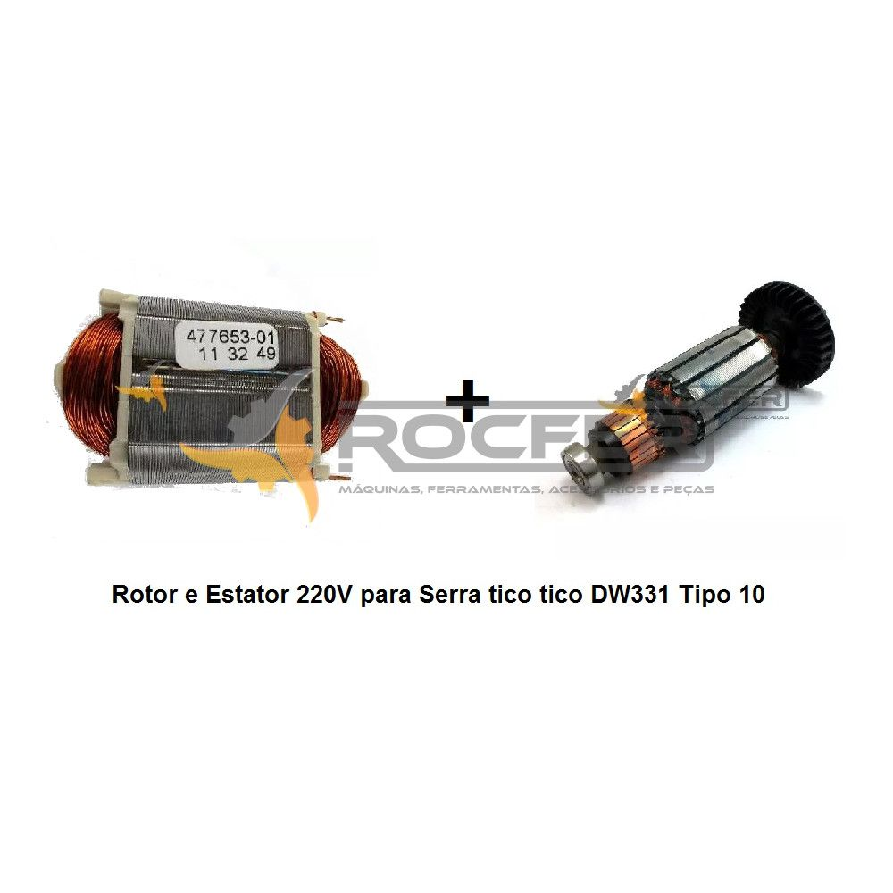 Conjunto de Rotor e Estator 220V para Serra tico tico DW331 Tipo 10  Dewalt