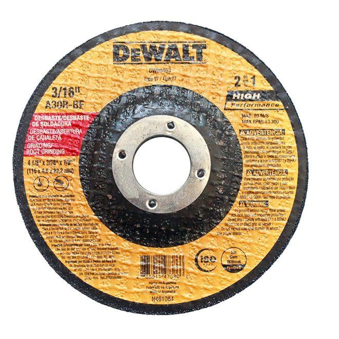 """Disco 2 em 1 Desbaste e Abertura de Canaleta 4.1/2""""x3/16""""x 7/8"""" DEWALT DW80403"""