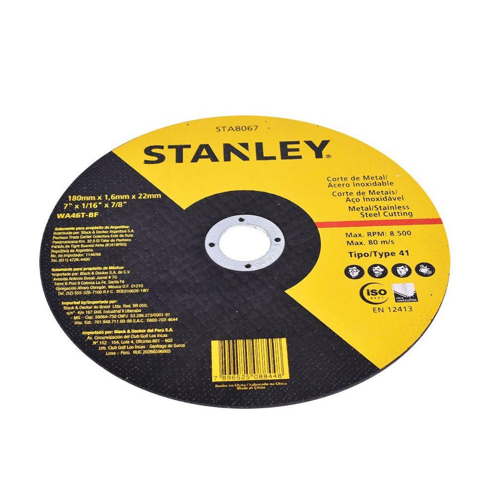 "Disco de Corte Fino - Metal Inox 7"" X 1,6mm X 7/8'' Stanley STA8067"