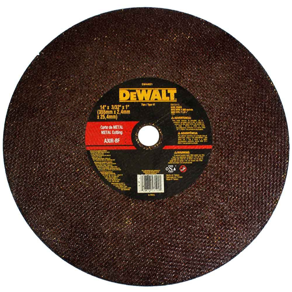"Disco de Corte - Metal 14"" X 2,4mm X 1"" DeWALT DW44621"