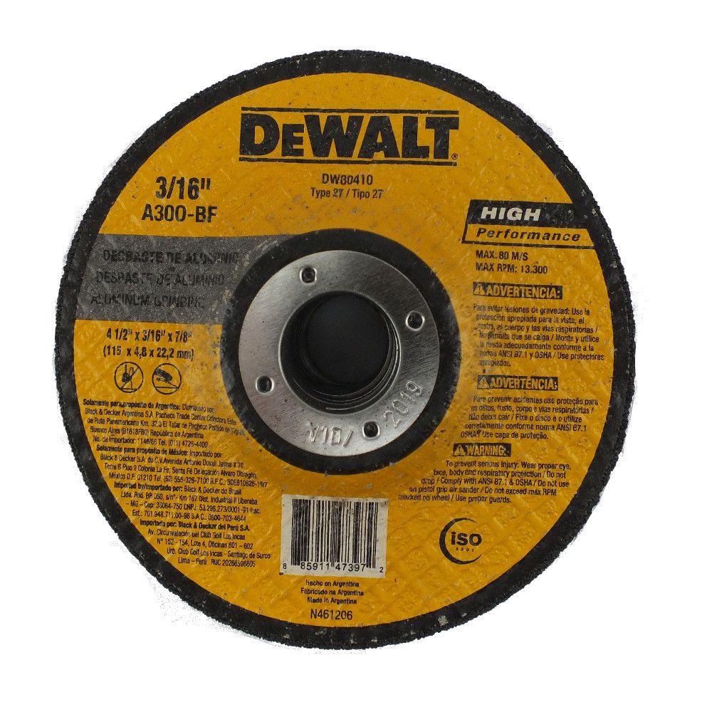"Disco de Desbaste Alumínio Dewalt DW80410 4.1/2"" x 1/4 x 7/8"""