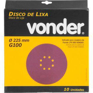 Disco Lixa 225mm Grão 100 P/ Lixadeira LPV600/LPV1000 Vonder 10un