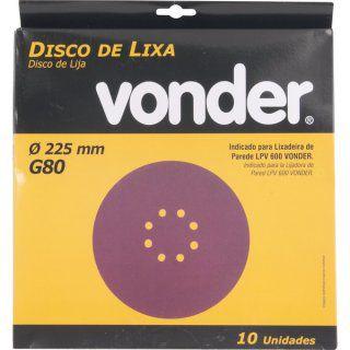 Disco De Lixa 225mm Grão 80 Para Lixadeira LPV 600 e LPV1000 Vonder 10 unidades