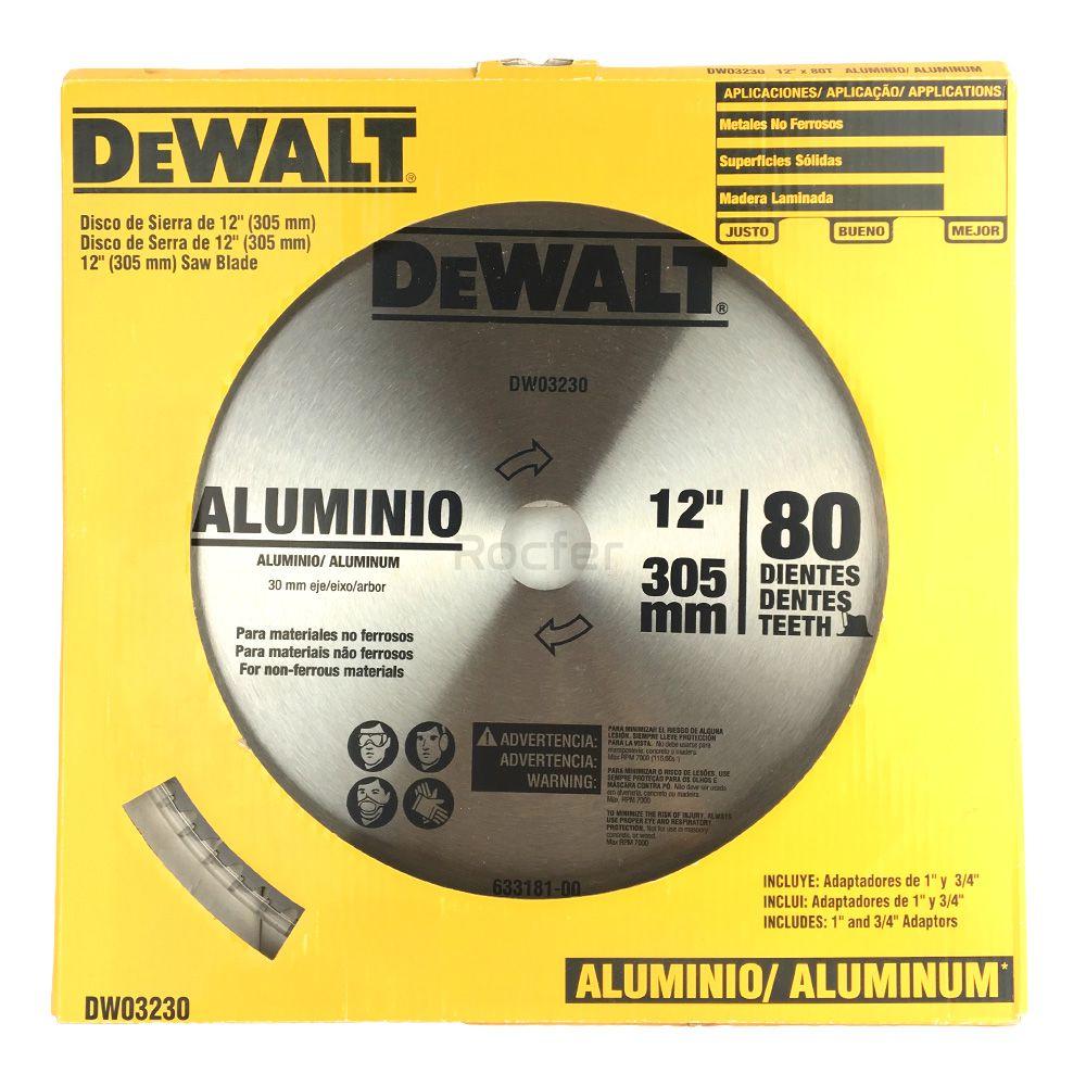 """Disco de Serra 12"""" Dw03230 80 Dentes P/ Alumínio Dewalt Acompanha 2 Buchas de redução de 20mm e 25mm"""