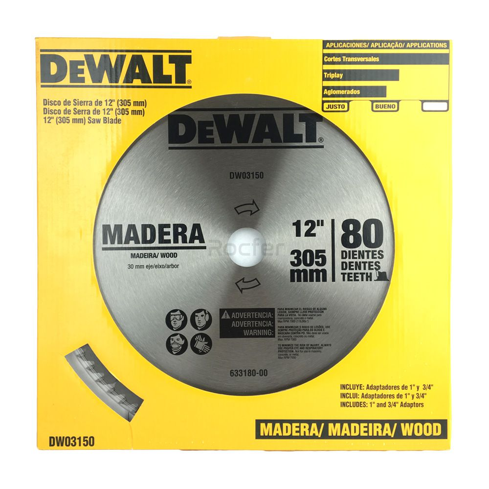 Disco De Serra 80 Dentes Dw03150 Dewalt P/ Madeira Acompanha 2 buchas de redução de 20mm e 25mm