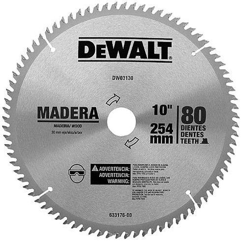 """Disco de Serra Esquadria Madeira DW03130 10"""" 80 Dentes DeWALT"""