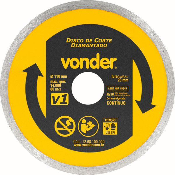 Disco Diamantado V1 110MM Furo 20MM - Vonder 1268100000