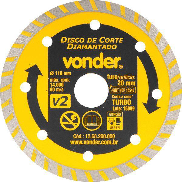 Disco Diamantado V2 110MM Furo 20MM - Vonder 1268200000