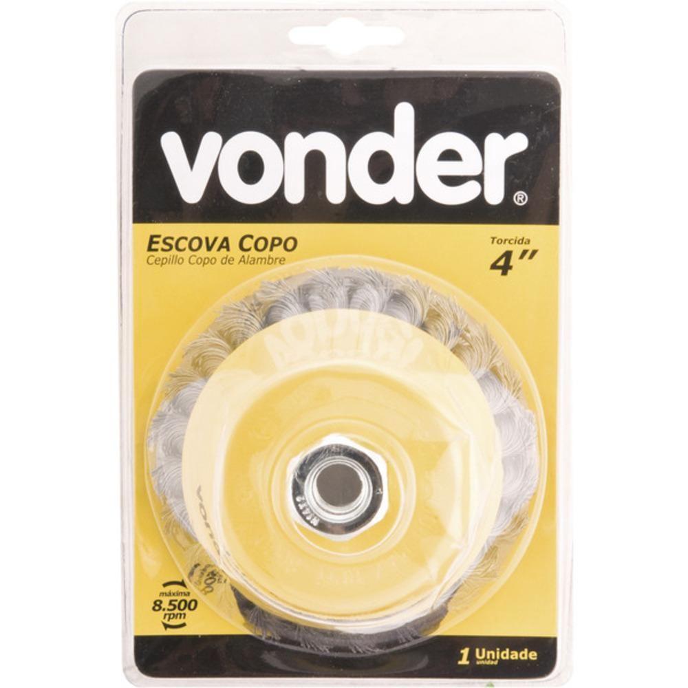 """Escova de aço tipo copo trançada 4"""" Vonder 63.25.004.140"""