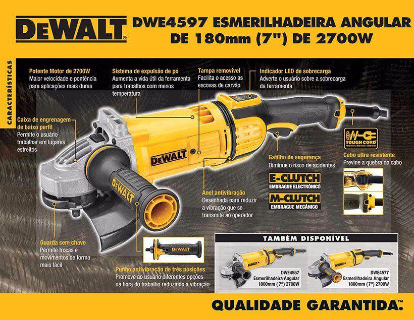 """Esmerilhadeira Angular 7"""" 2700W - DWE4597 - Dewalt 220V"""