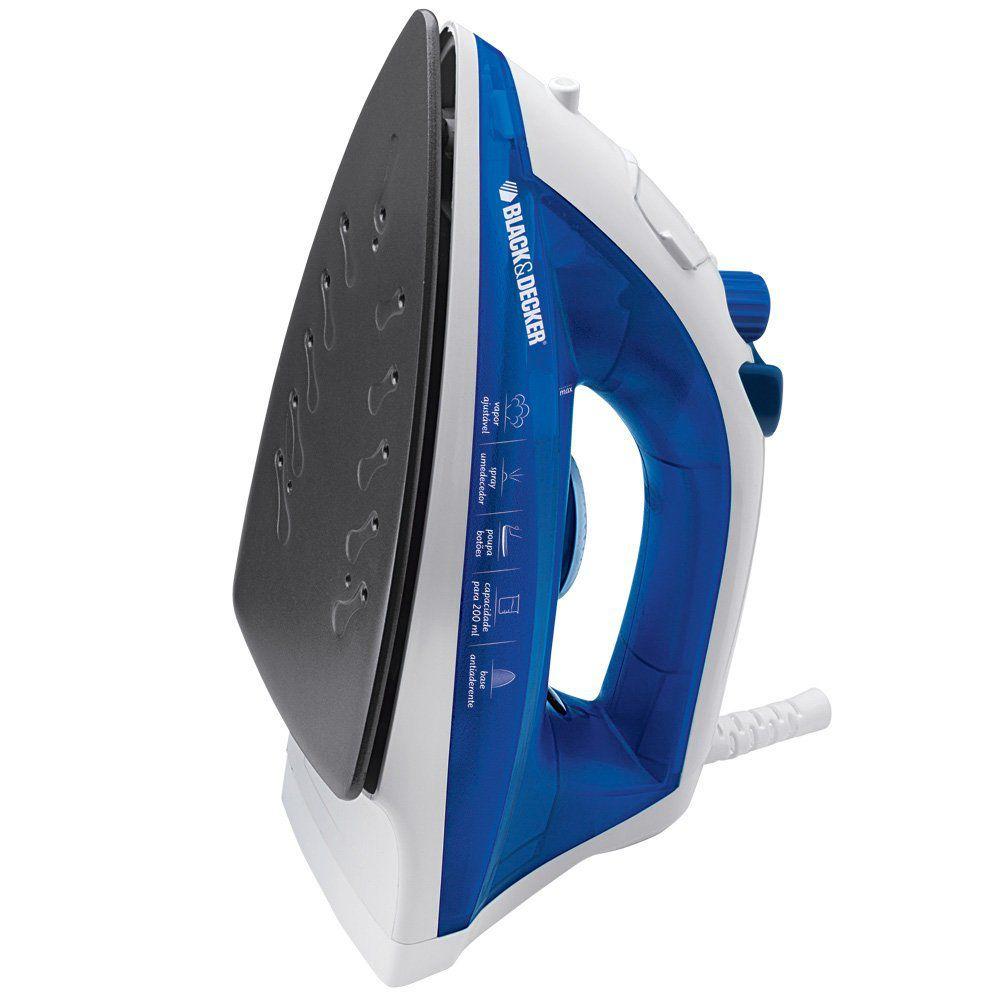 Ferro a Vapor Black & Decker, Base Antiaderente, com Spray, 1100W - AJ2000AZ Azul, 220V