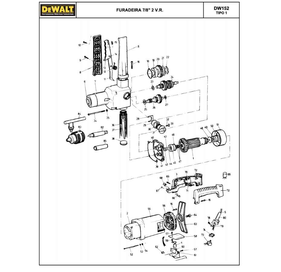 Interruptor DeWALT para Furadeira DW152 Código: 932401-00