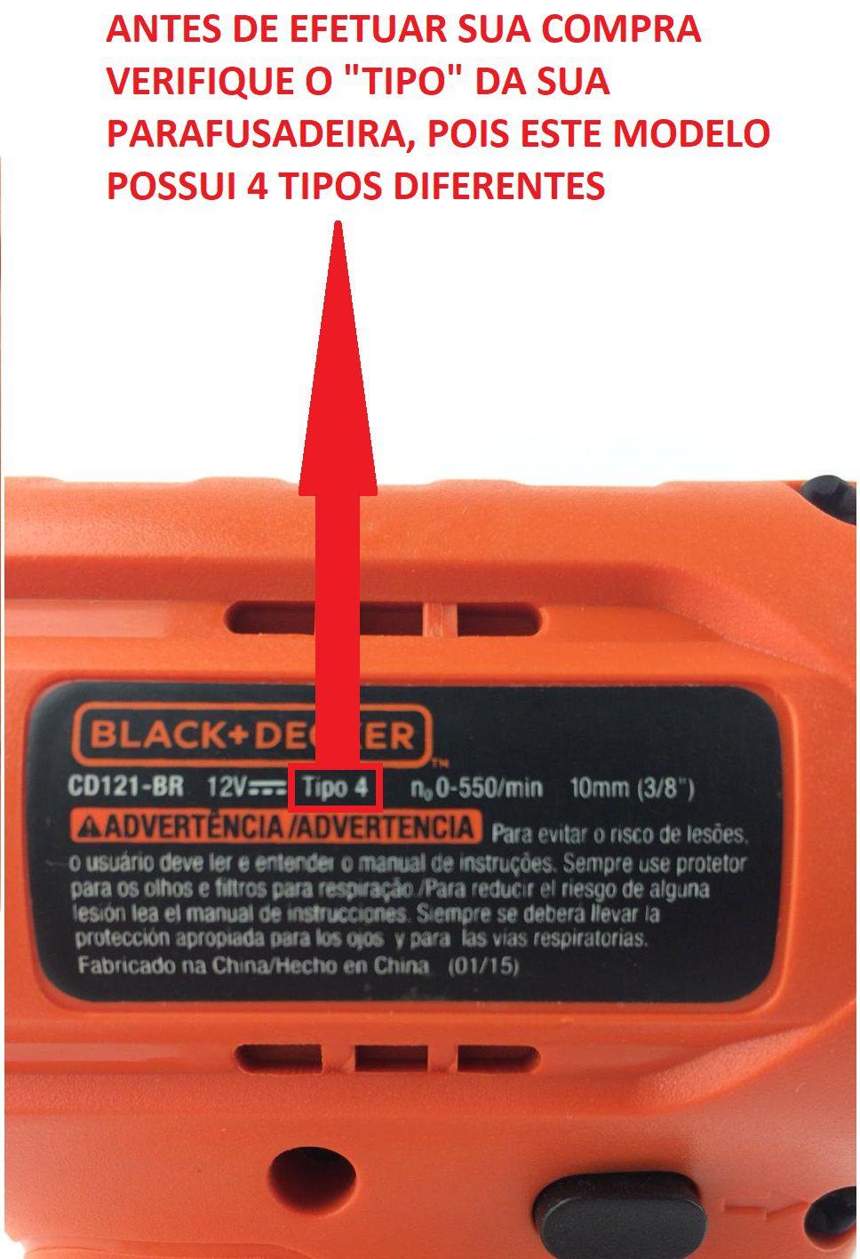 Kit de Bateria, Carregador e Base para Cd121 Tipo 4 Black e Deker