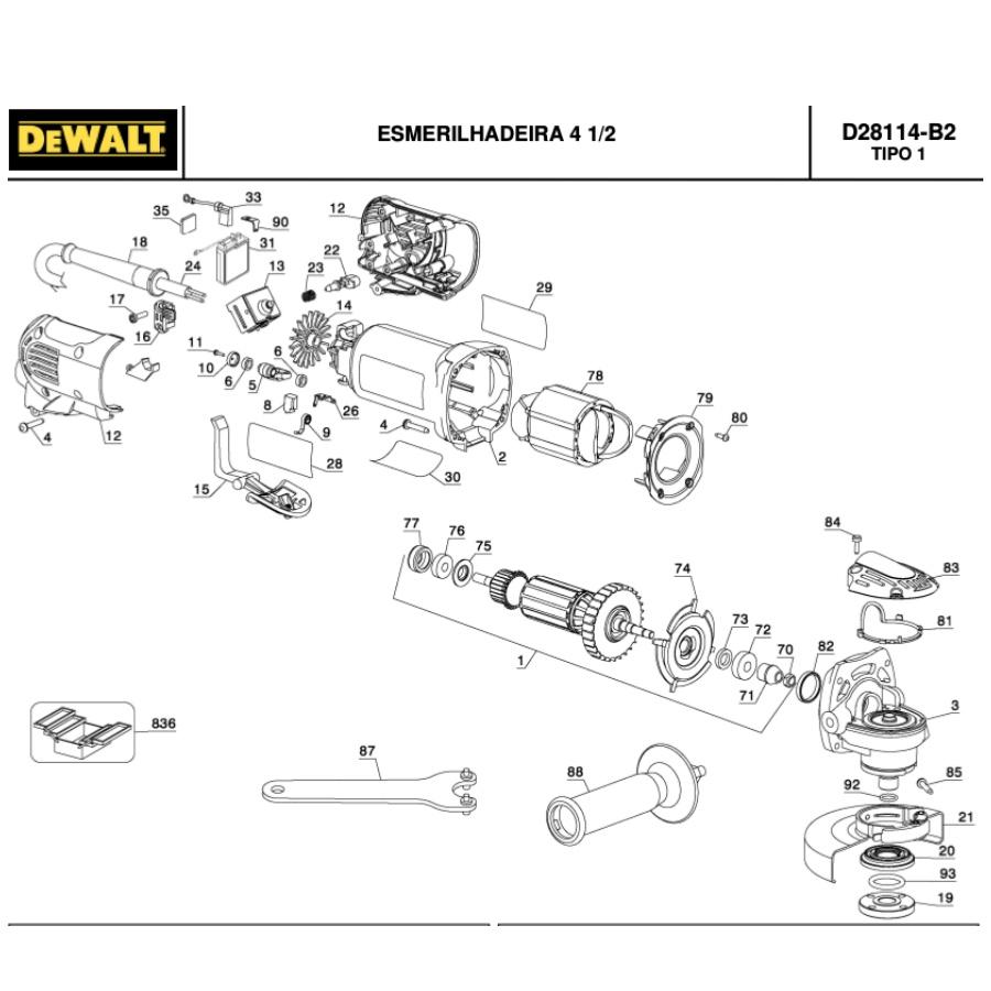 Kit Induzido 220v + Estator p/ Esmerilhadiera Dewalt D28114 - B2 220v Tipo1
