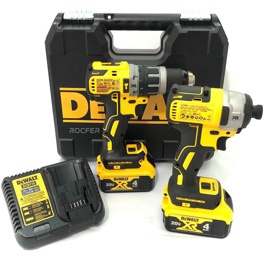 Kit Parafusadeira de Impacto DCF887B + Parafusadeira/Furadeira De Impacto DCD796 + 2 Bateria 4Ah DCB204 + Carregador DCB115 Bivolt Dewalt