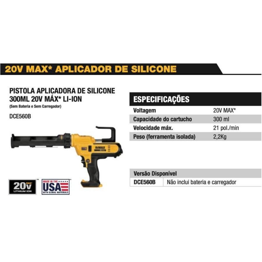KIT Pistola Aplicadora de Silicone Dewalt DCE560B + Kit Sache 400ML